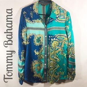 Tommy Bahama Blue & Turquoise Silk Blouse🌴🌴